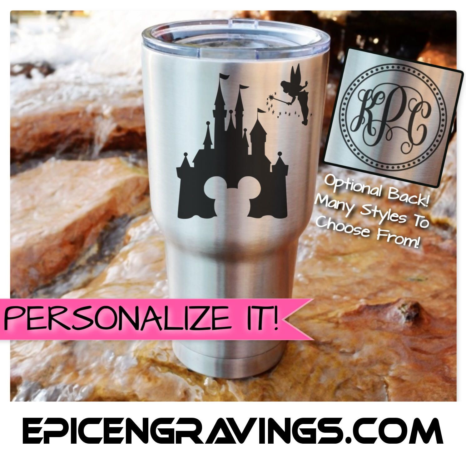 Items similar to YETI or RTIC Engraved Tumbler/Disney Cup/Disney Trip/Disney Gear/Mickey/Minnie/Disney Castle/Tinkerbell/Custom Tumbler/Personalized Gift on Etsy #disneycups