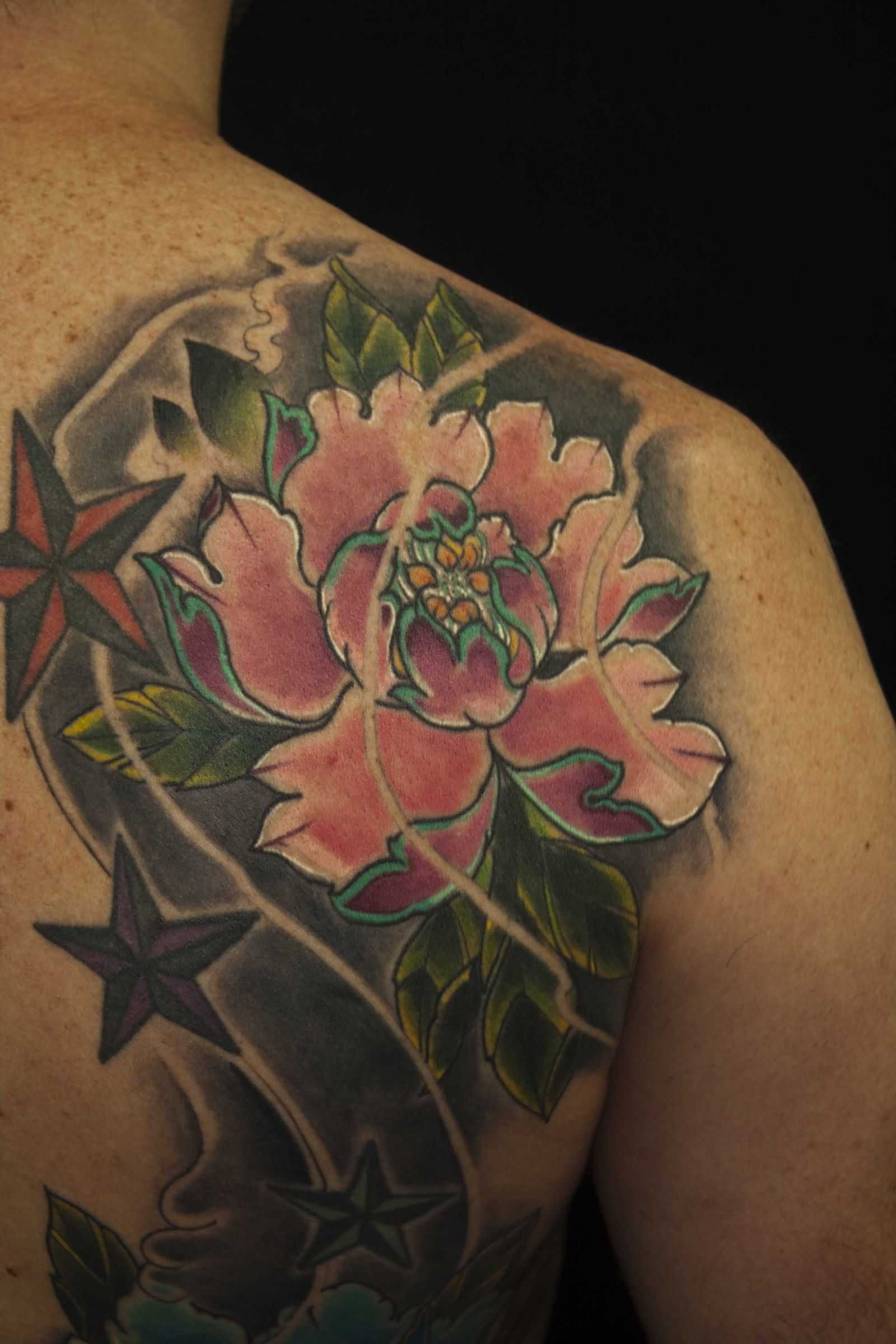 Japanese Peony Flower Tattoo On Right Back Shoulder