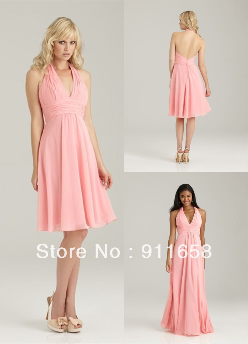 Country Style Bridesmaid Dresses Of Halter A-line Chiffon Backless ...