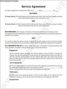 ServiceAgreementTemplate    General Contract For Services