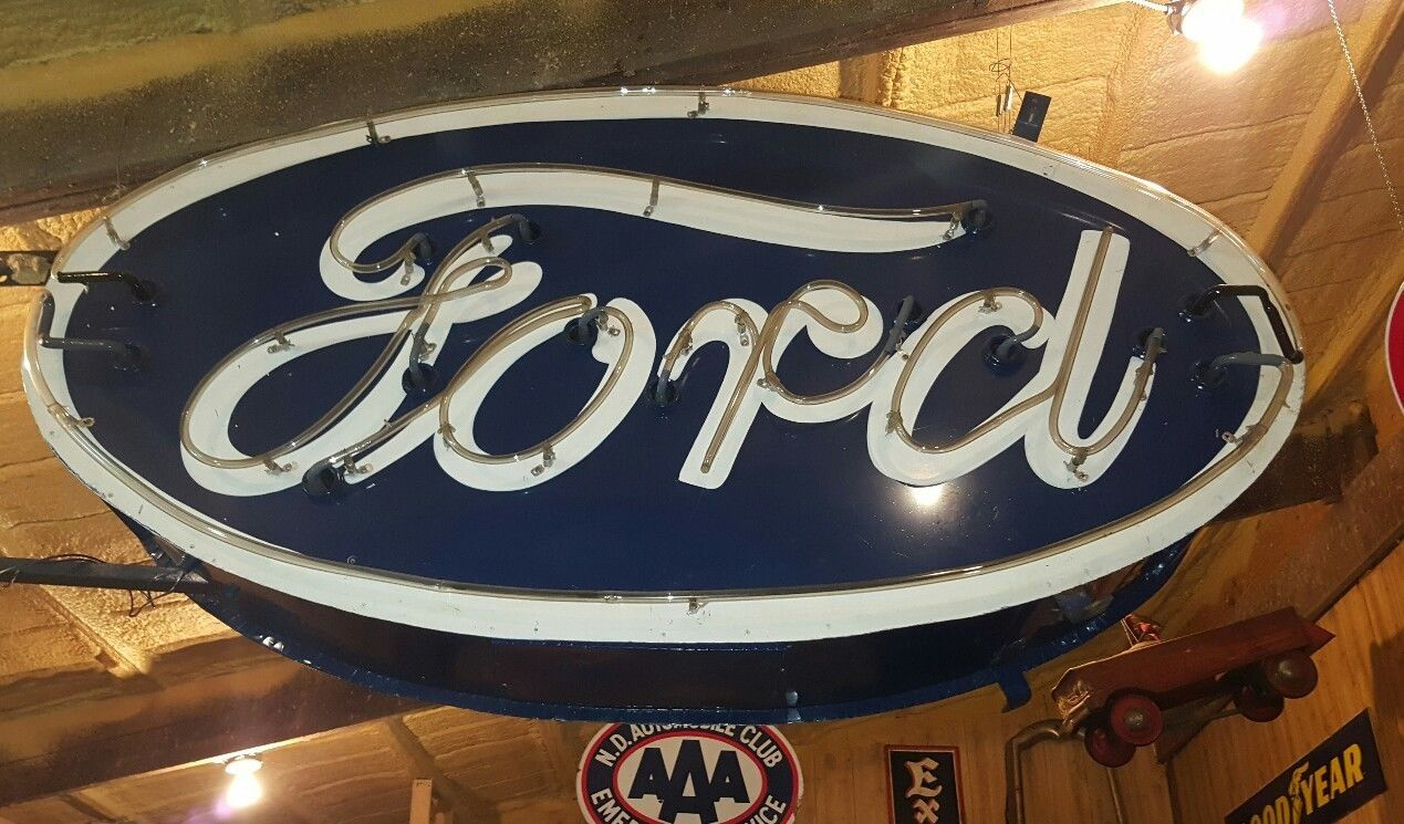 Very Large Vintage 1950s Ford Dealership Neon Double Sided Sign