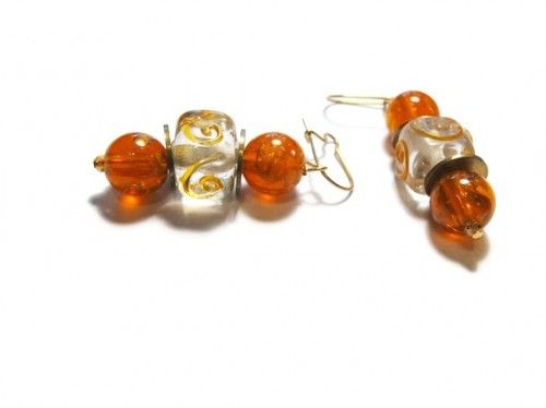 Earrings Orange Acrylic and Clear Glass Beads  with Brass Washers