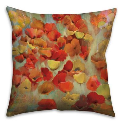 Floral 16 Square Throw Pillow In Redyellow Products Throw