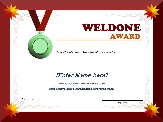 Well Done Award Certificate can be used by schools educational – Certificate Template Microsoft
