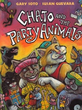 """Chato decides to throw a """"pachanga"""" for his friend Novio Boy, who has never had a birthday party, but when it is time to party, Novio Boy cannot be found. (Grades: Prek-5) Call number: PZ7.S7242 Cj 2000"""