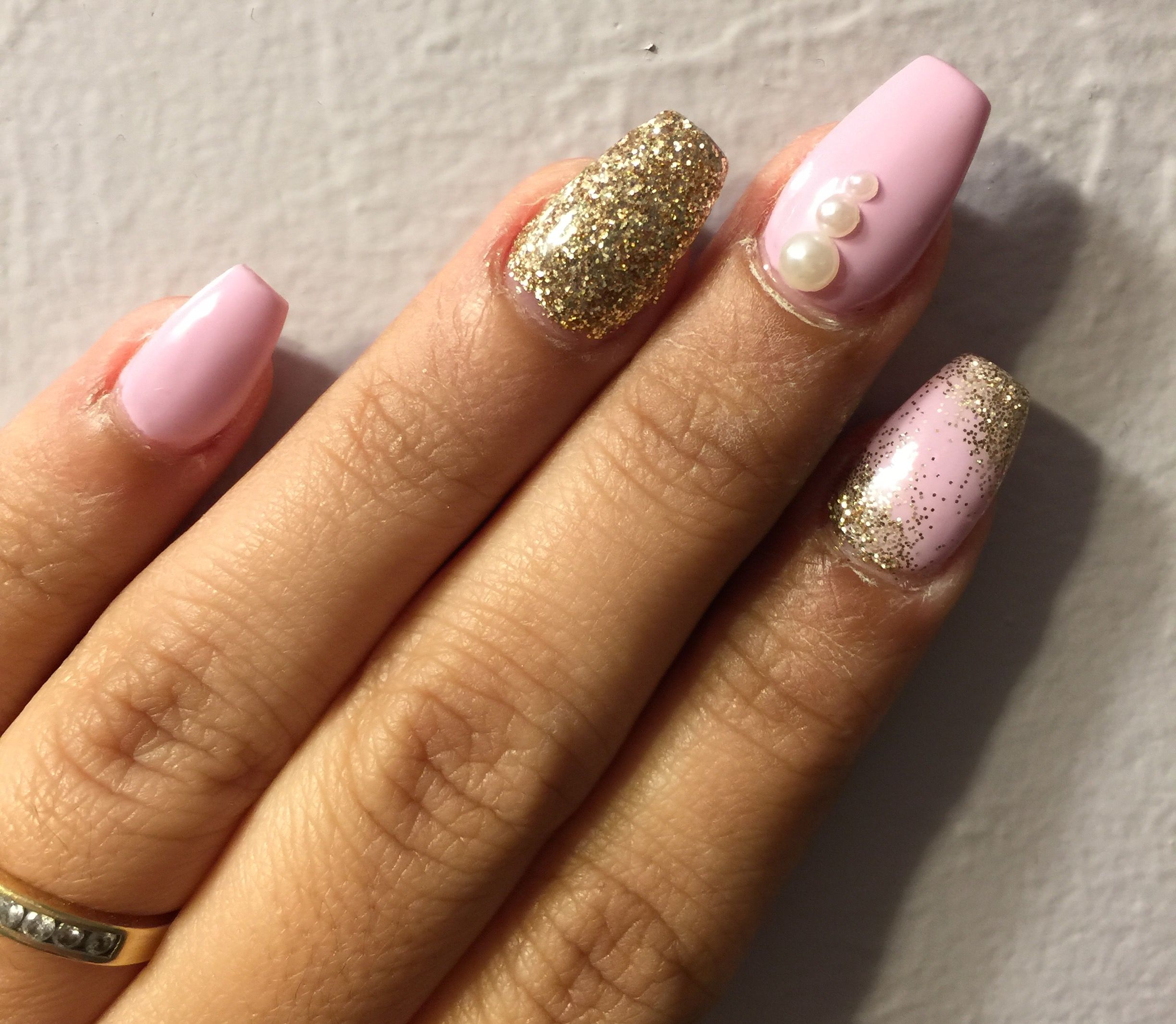 Pink Cake Pop Shellac With Champagne Gold Glitter And Pearls On Acrylic Nails Coffin Shape Nail Designs Nails Nail Inspo