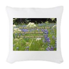 She Laughed At Winter's Snow Woven Throw Pillow