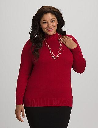 roz & ALI™ Plus Size Mock Neck Sweater
