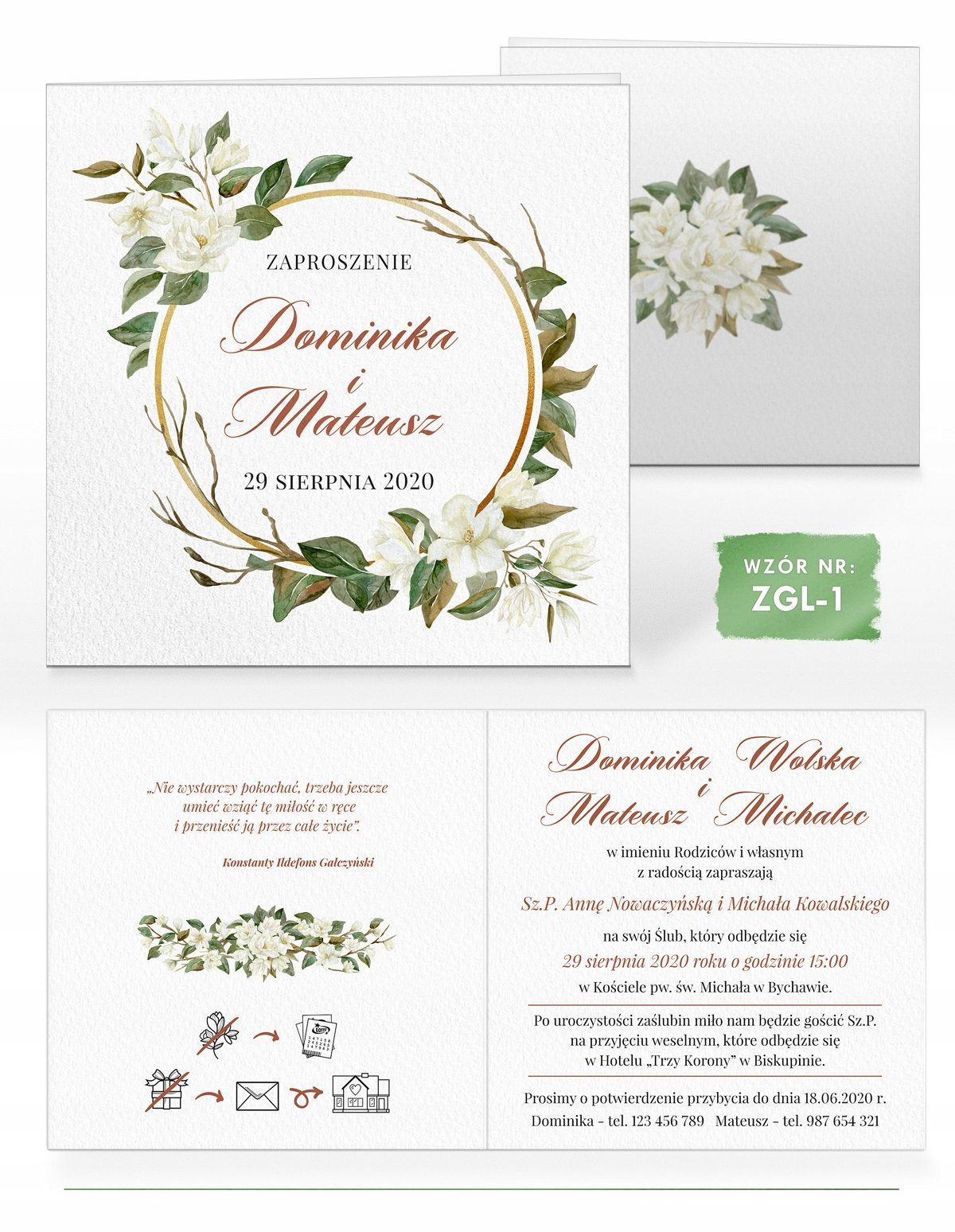 Zaproszenia Slubne Akwarele Magnolia I Bawelna 8514023257 Allegro Pl Wedding Invitations Invitations Wedding