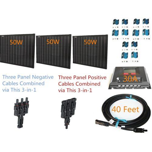 Plugnpower Space Flex 150w 150 Watt Three 50w Superblack Solar Panels Kit For 12v Off Grid Battery Next Da Solar Panel Kits Solar Panels For Home Solar Panels