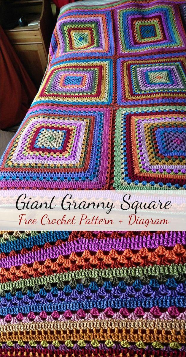 Free Crochet Pattern] Giant Granny Square + Diagram | Manta, Camilo ...