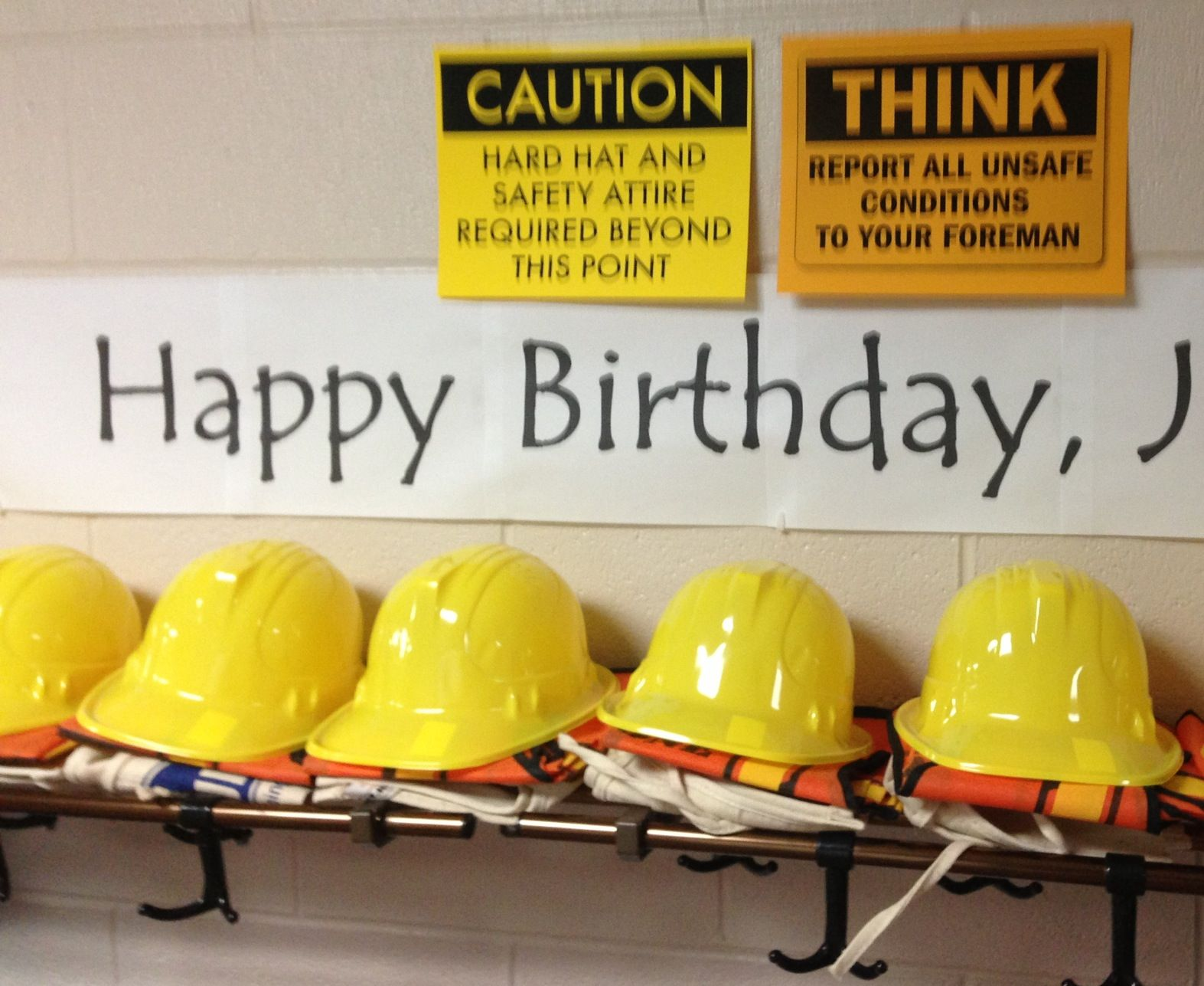 Construction Party safety gear. I set out safety gear