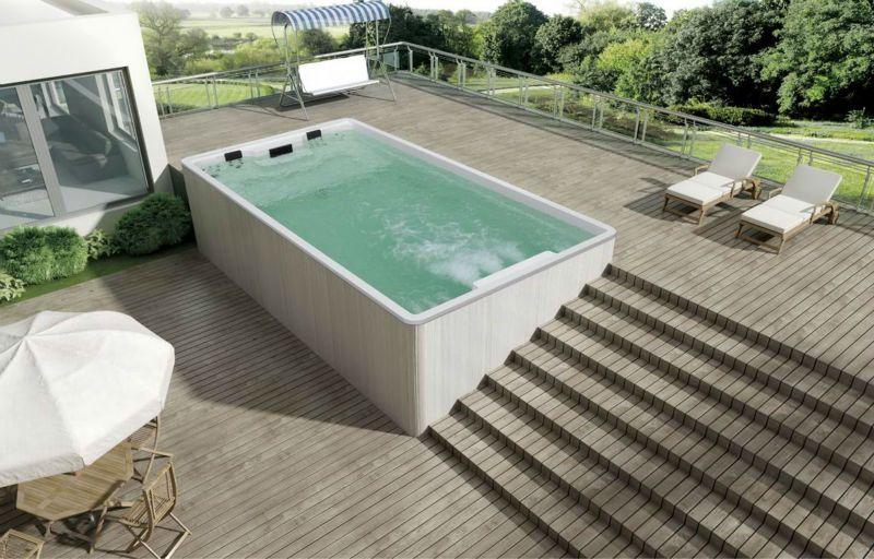6 meter hot tub above ground pool swim spa outdoor for Above ground pool decks with hot tub
