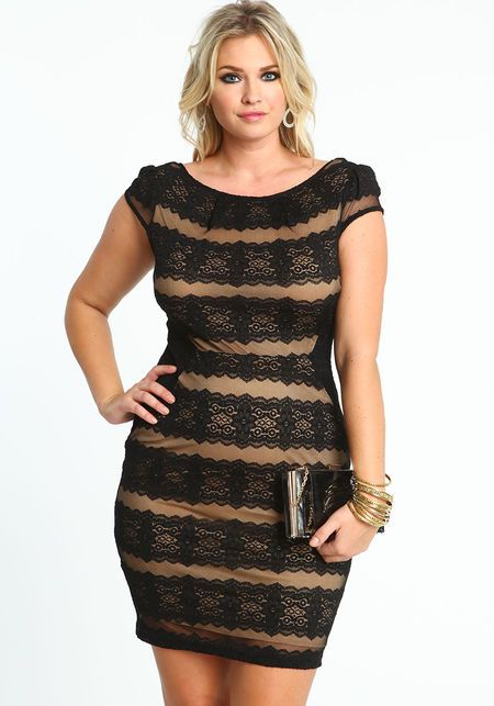 Plus Size Lace Bandage Dress, BLACK/MOCHA, large | Curvey ...