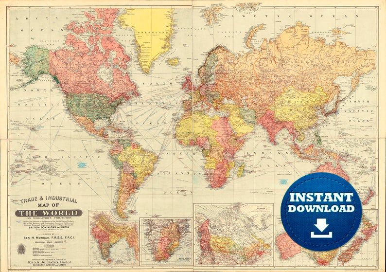 Digital Old World Map Printable Download Vintage World Map Printable Map Large World Map High Resolution World Map Poster Usa Australia In 2020 World Map Printable Old World Maps World Map