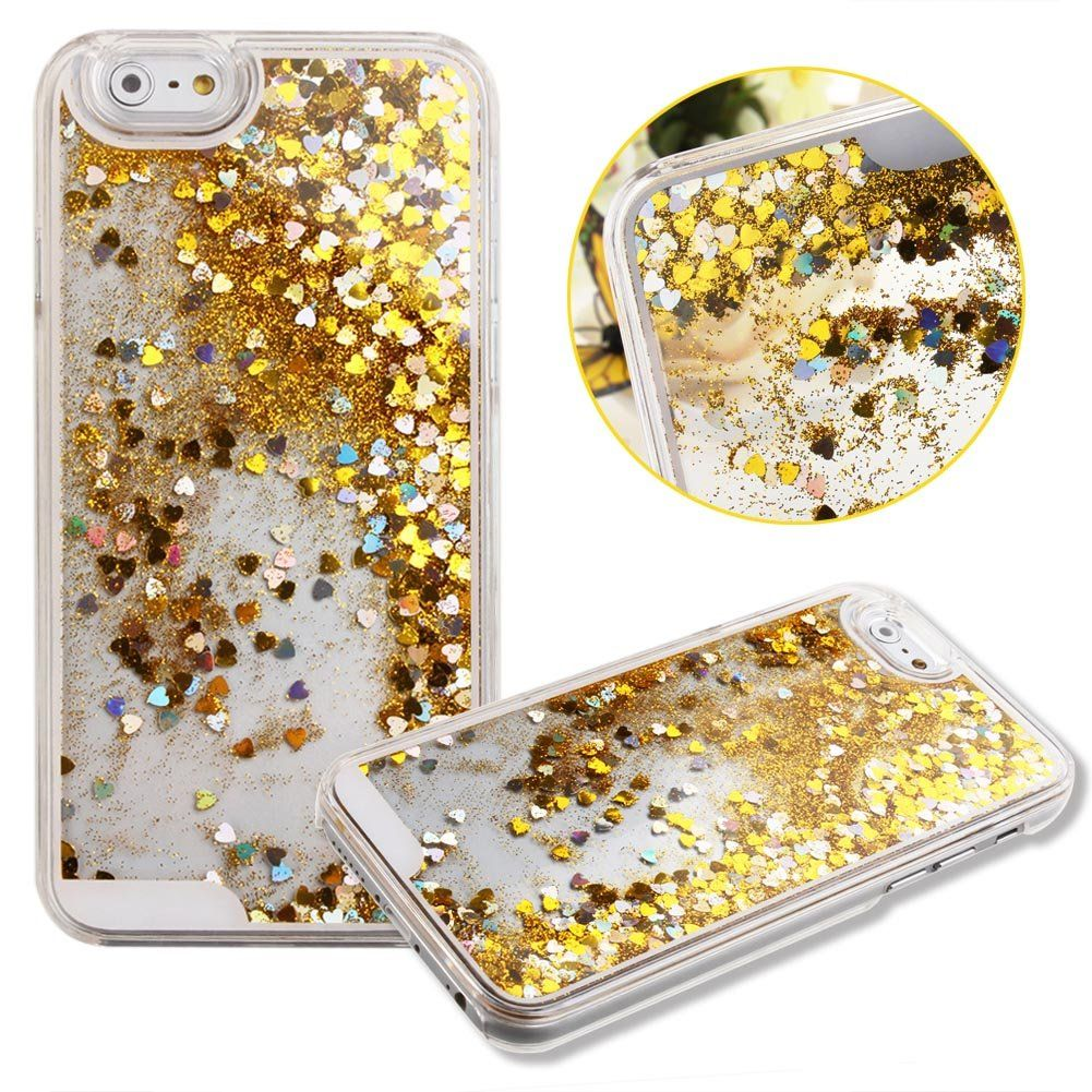 Case for iPhone 6,Cover for iPhone 6,Case for iPhone 6 with 4.7 inch Screen,Hard Case for iPhone 6,Nsstar Creative Design Flowing Liquid Floating Luxury Bling Glitter Sparkle Heart Hard Case for Apple iPhone 6 with 4.7 inch Screen with 1PCS Free Cup Mat Color Random (Heart:Yellow)