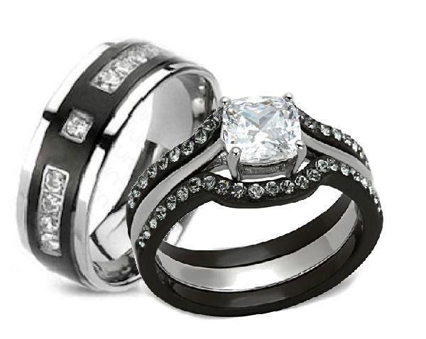 His Hers 4 Piece Cz Wedding Ring Set Black Plated Stainless Steel Titanium Cheap Wedding Rings Sets Cz Wedding Ring Sets Cz Wedding Rings