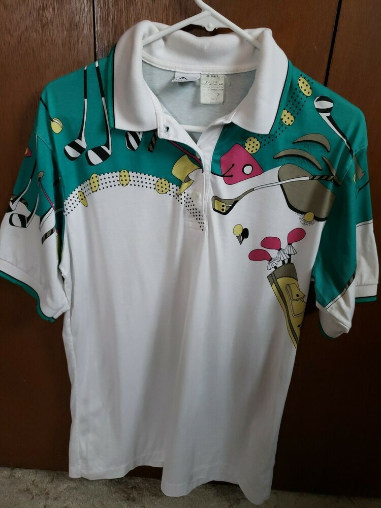 Awesome Vintage 80 S 90 S Fun Golf Tennis Polo Print Head Shirt Teal Mens Size L Head Polorugby Head Shirts Golf Shirts Aztec Print Shorts