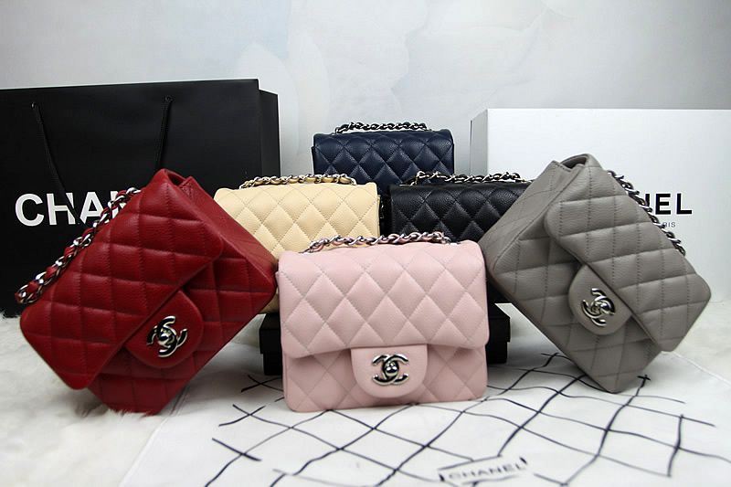 Chanel Mini Classic Flap Shoulder Bag 1115 in Grey Original Caviar ... 9e0d8d212