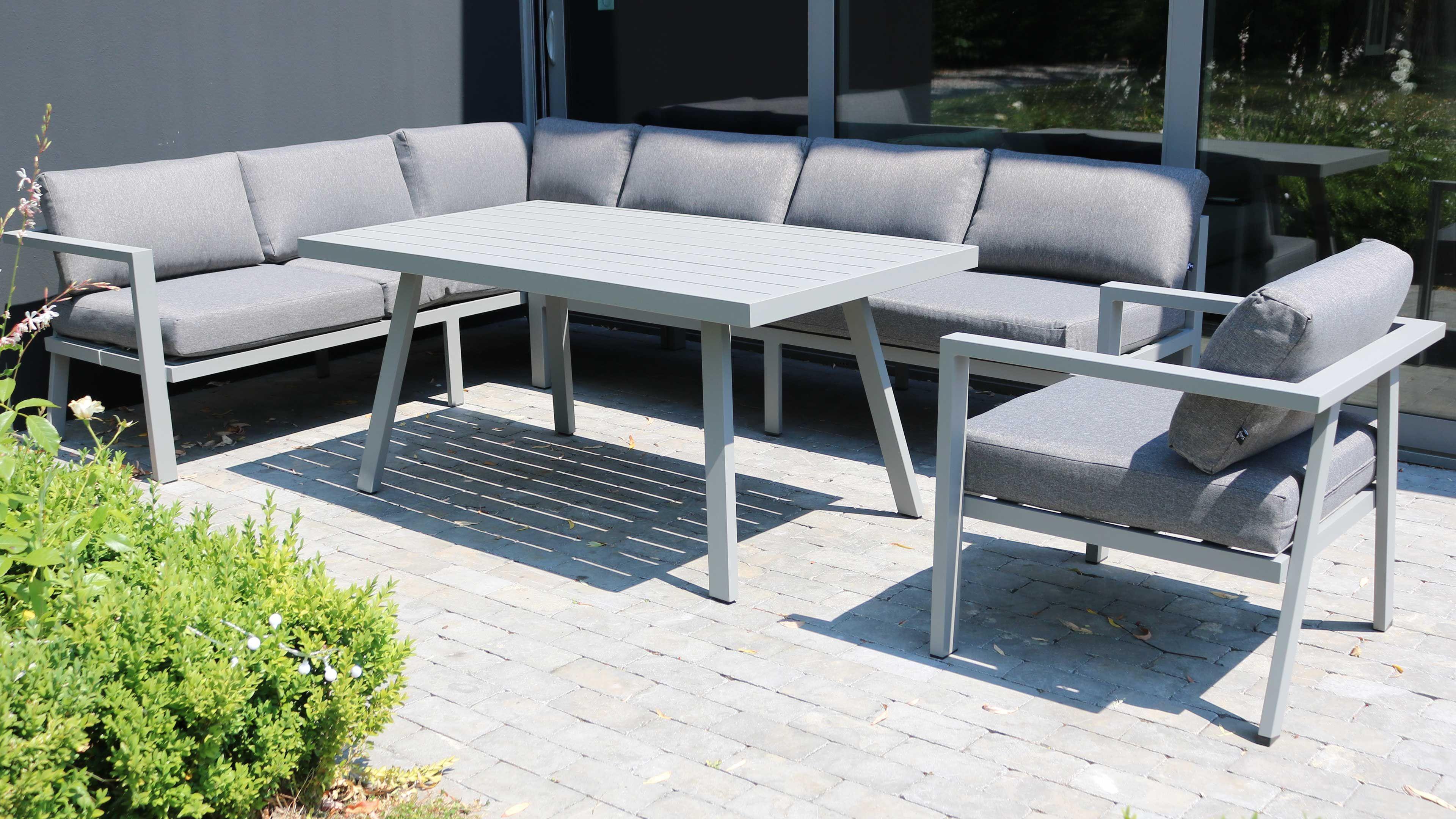 Table de jardin 8 places aluminium canapé d\'angle et ...