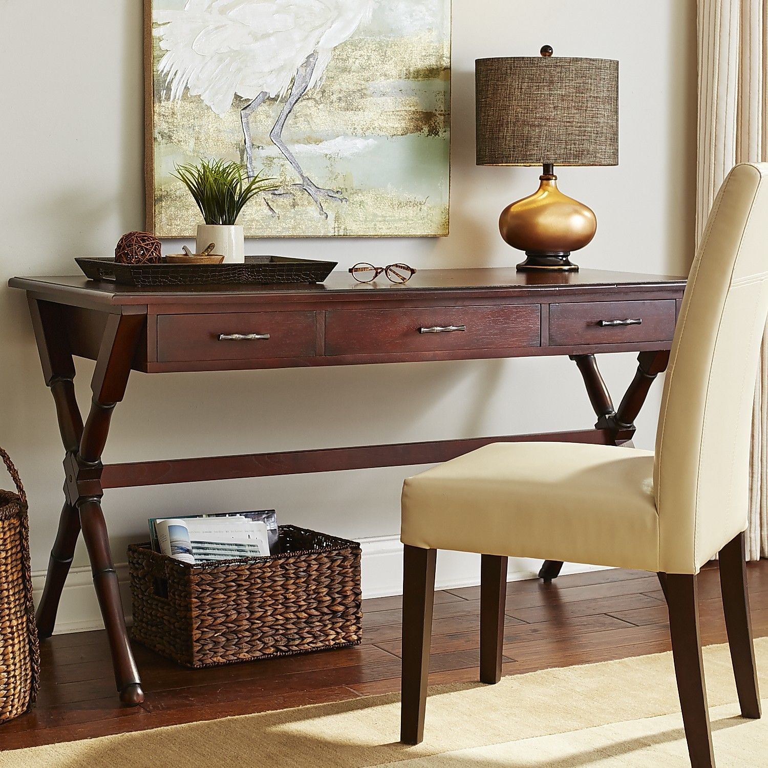 Large Natura Desk   Mahogany Brown | Pier 1 Imports