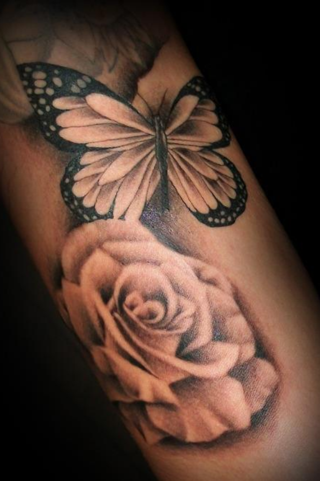 Beautiful Rose/Butterfly tattoo | Rose and butterfly tattoo