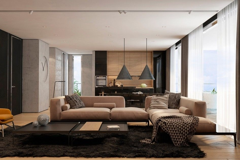 Contemporary Living Room Set In Black Red Or Cappuccino: Living Room, Cream Chaise Lounges Metal Coffee Tables