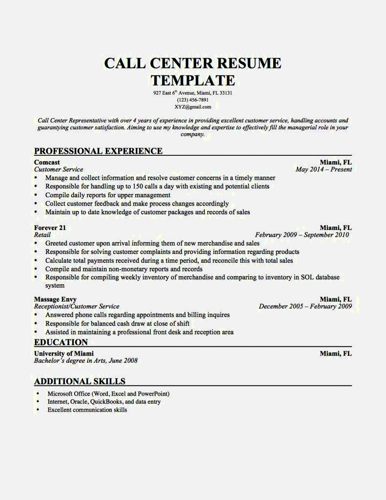 Call Center Job Description Resume Resume Template Resume Examples