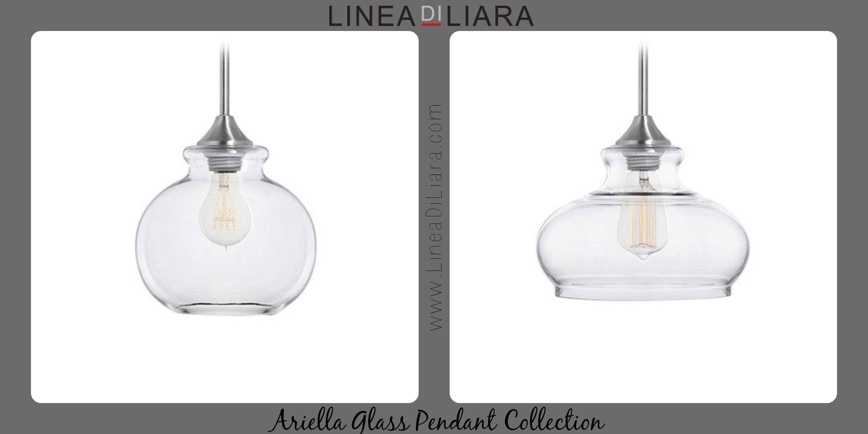 Ariella Glass Pendant Lighting Collection Brushed Nickel By Linea - Pendant light collections