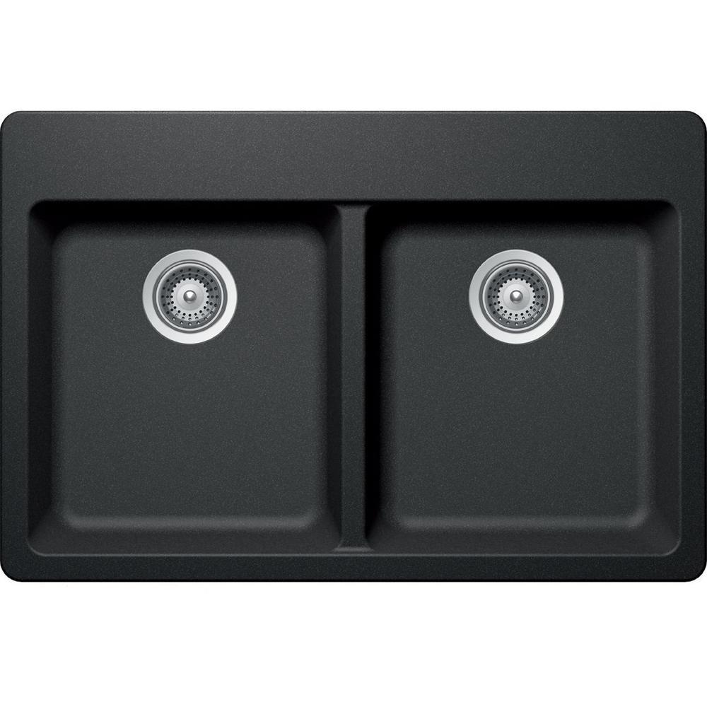Elkay By Schock Dual Mount Quartz Composite 33 In. Double Bowl Kitchen Sink  In Charcoal (Grey)