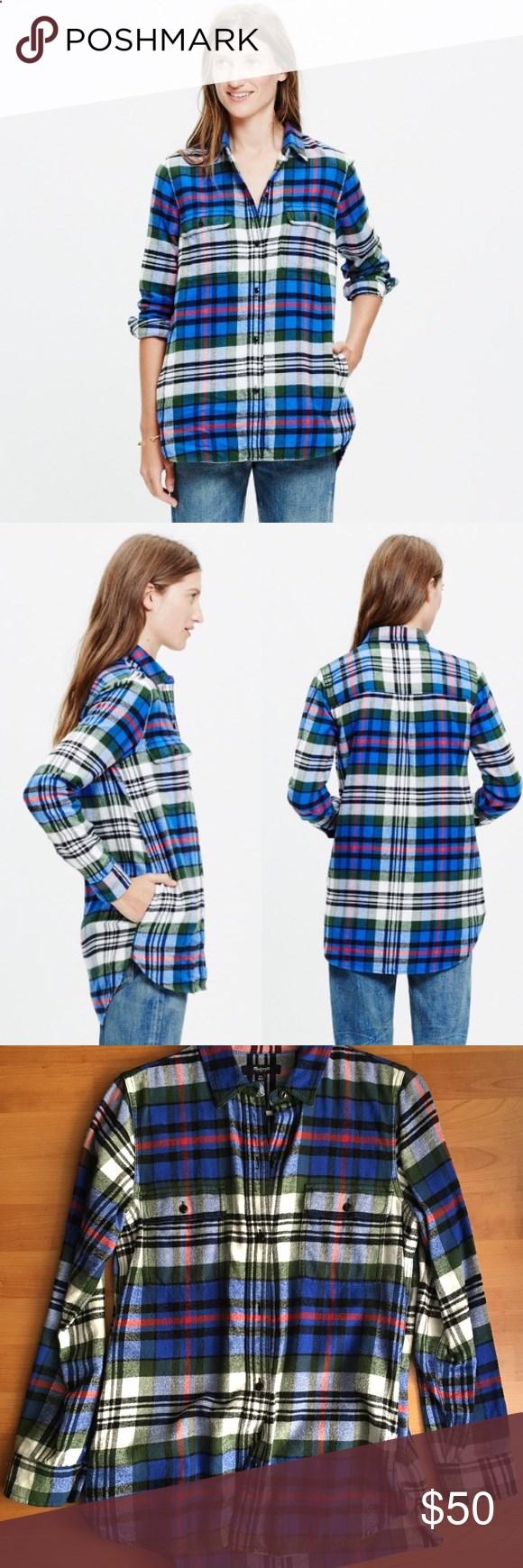 Flannel shirt xs  Madewell flannel ExBoyfriend shirt Larchmont plaid Madewell flannel