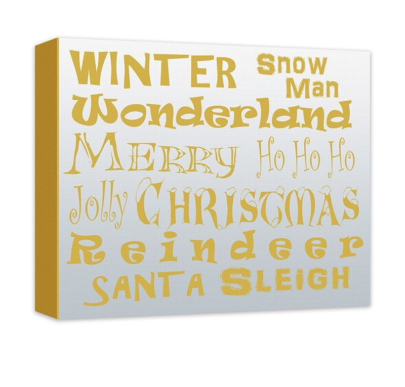 Merry Christmas Word Collage Canvas Wall Art | Products, Canvas ...