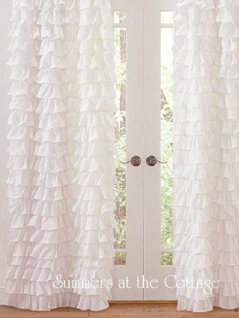 Shabby Beach Cottage Chic Dreamy White Petticoat Ruffles Curtain