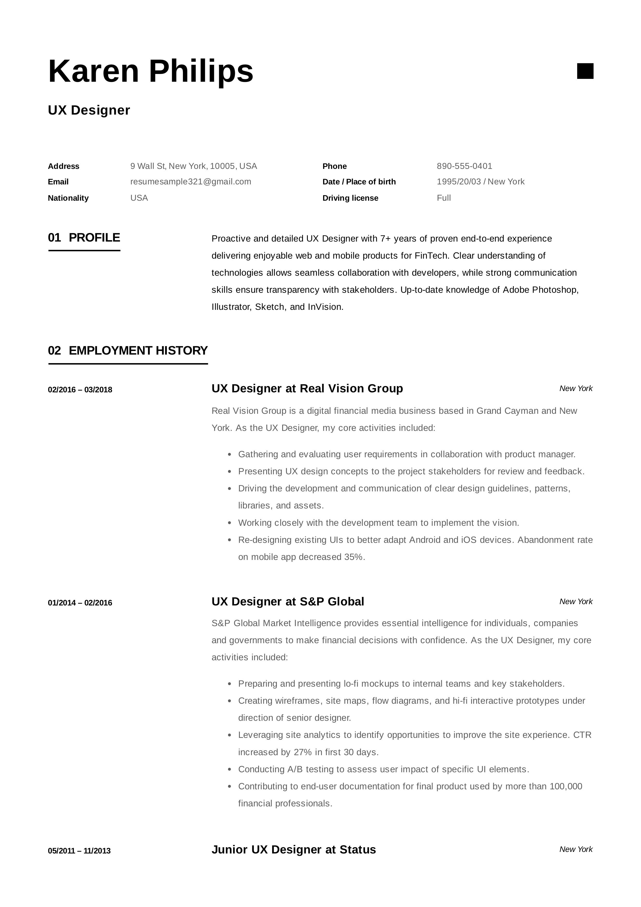 Ux Designer Resume Example Resume Design Resume Examples Research Assistant