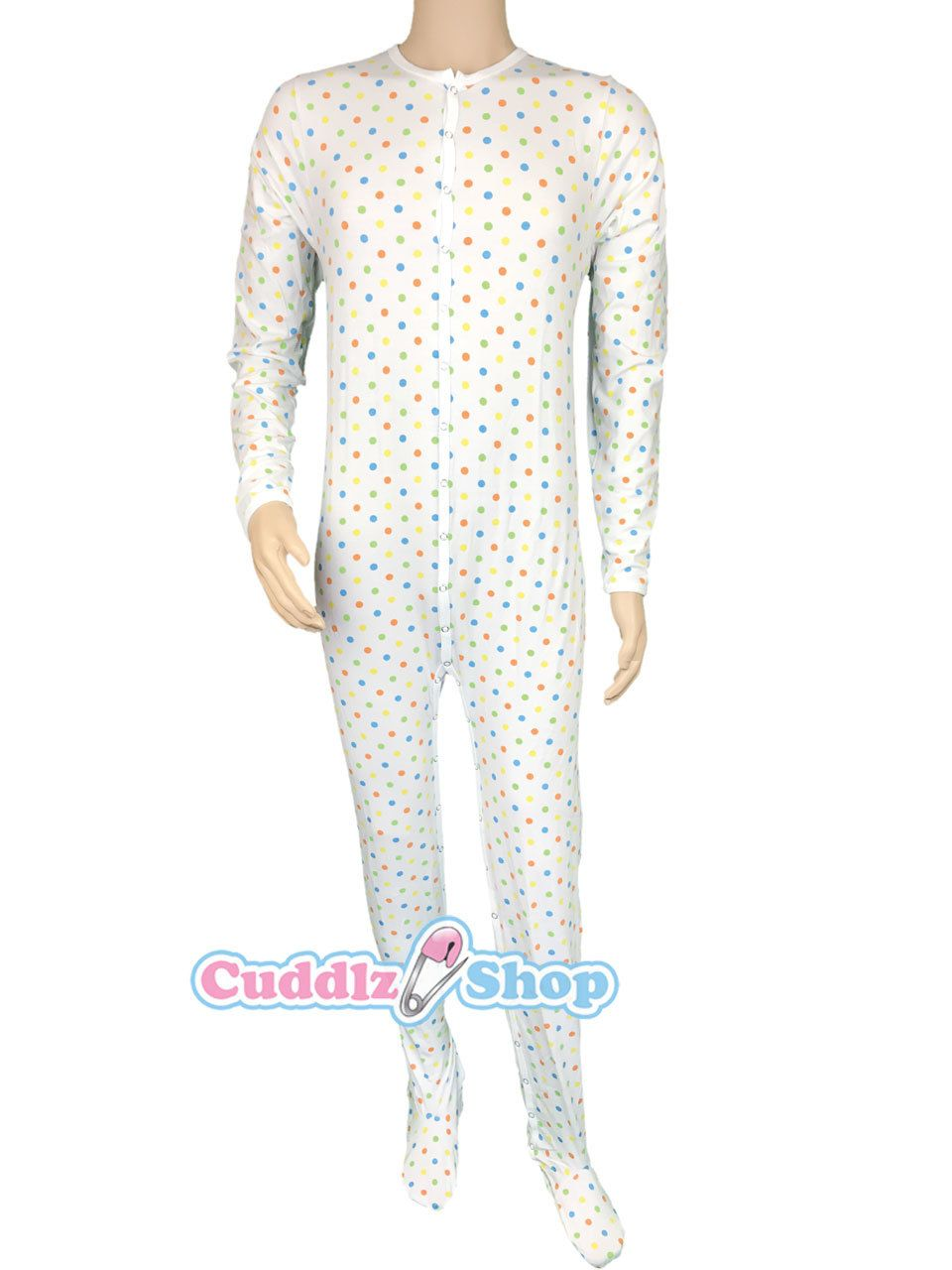 64f6dccea Polka Dot Pattern Stretch Cotton Footed Adult Sleepsuit Onesie ...