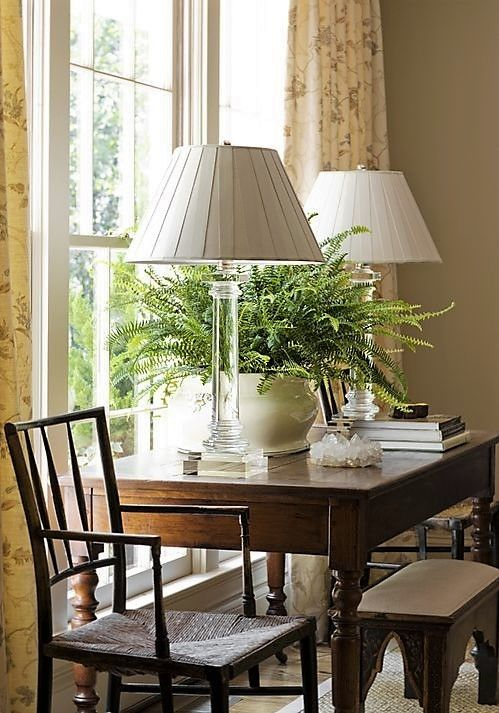 Desk In Front Of Window Chair On The Side Plant On Desk