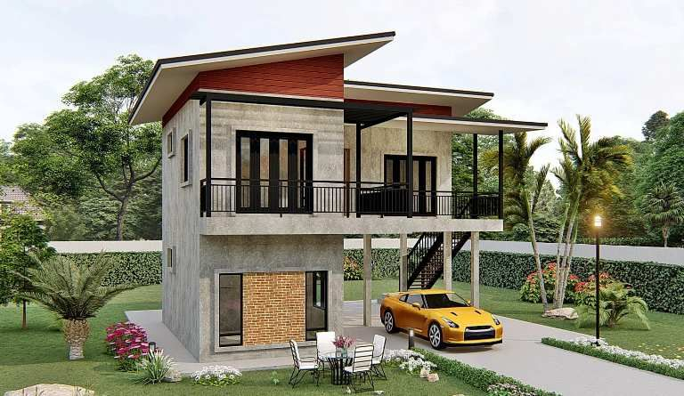Simple Two Storey House With Two Bedrooms Cool House Concepts In 2020 Two Storey House Modern Bungalow House Luxury House Designs