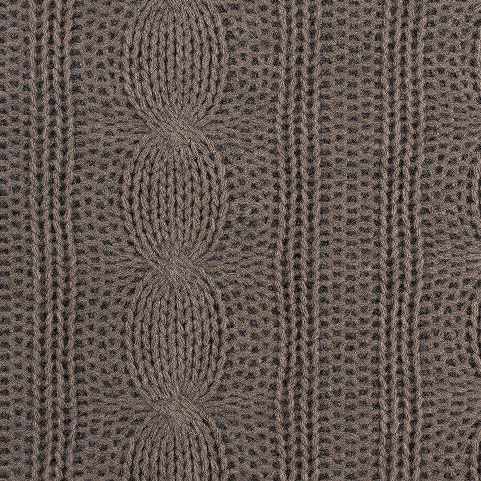 Dusty brown blended wool crochet w gray fleece backing fabric by