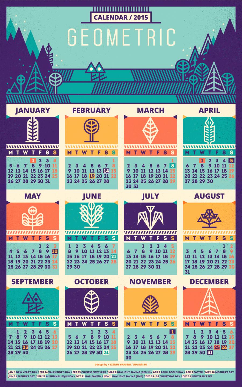 Calendar Design Letters : Calendar geometric recolored by szende brassai