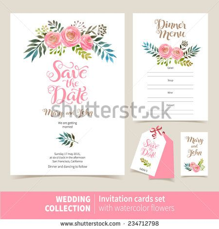 Vector set of invitation cards with watercolor flowers elements - marriage invitation letter format
