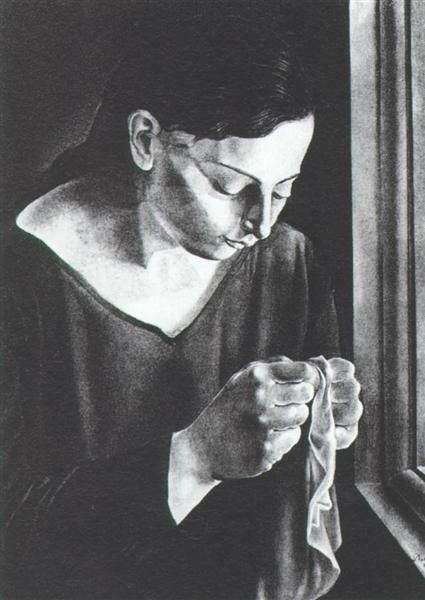 Ana Maria, Sewing, 1926 by Salvador Dali  Expressionism