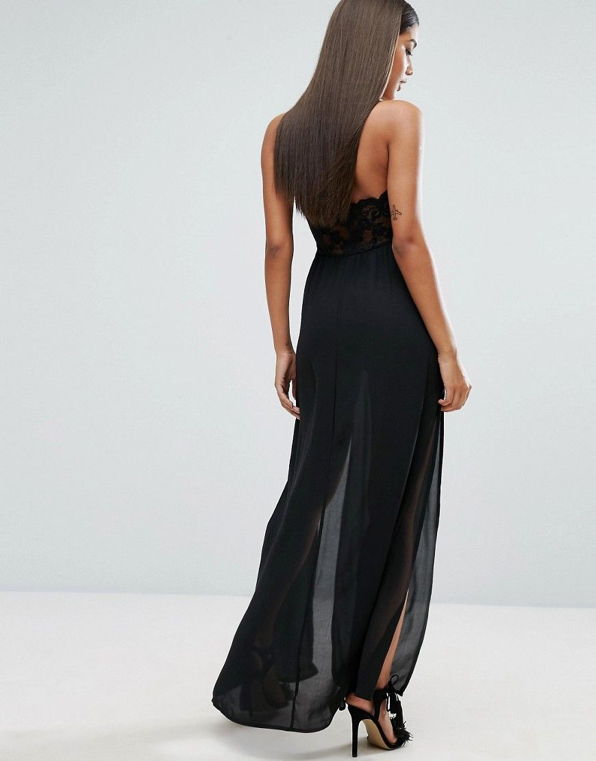 Naanaa Maxi Dress With Double Thigh Split And Lace Trim