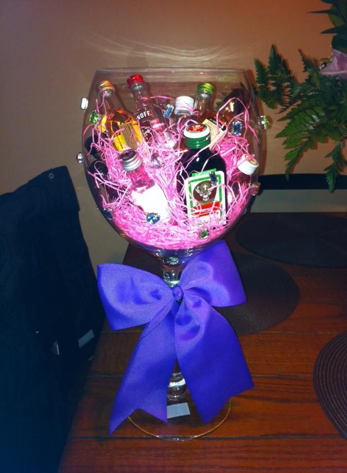 Glue stones on a huge wine glass toss in some mini bottles with gift idea glue stones on a huge wine glass toss in some mini bottles with candy and easter string negle Images