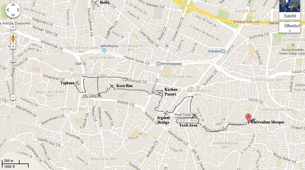 Walk Map through Bursa Turkey Bursa harita Pinterest Bursa