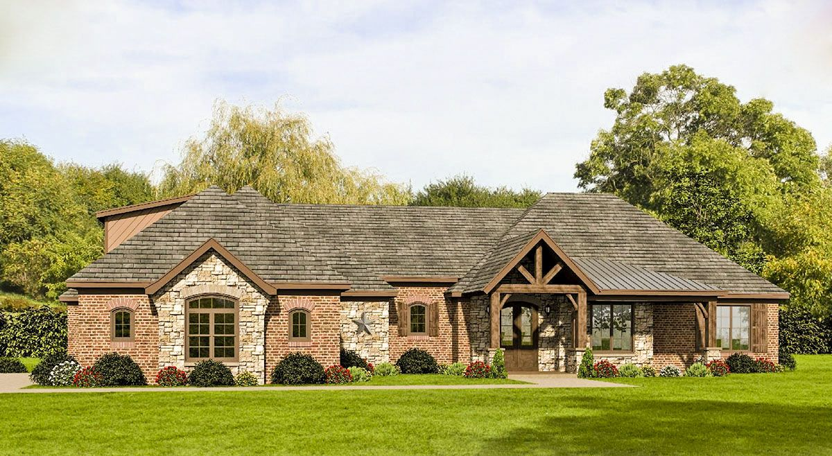Plan 68487vr Hill Country House Plan With Future Space Ranch House Plans Country House Plans Brick House Plans