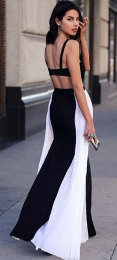 dress out cut and Sexy white black