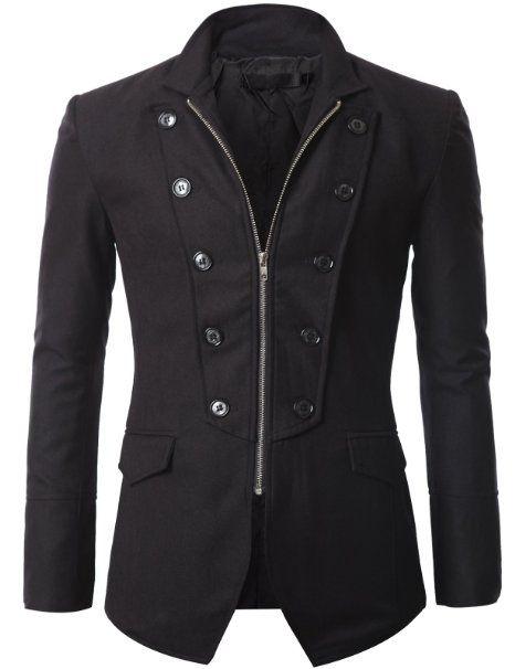 Amazon.com  Doublju Mens Jacket Blazer with Zipper  Clothing  73.66 ... 8d89b2cde