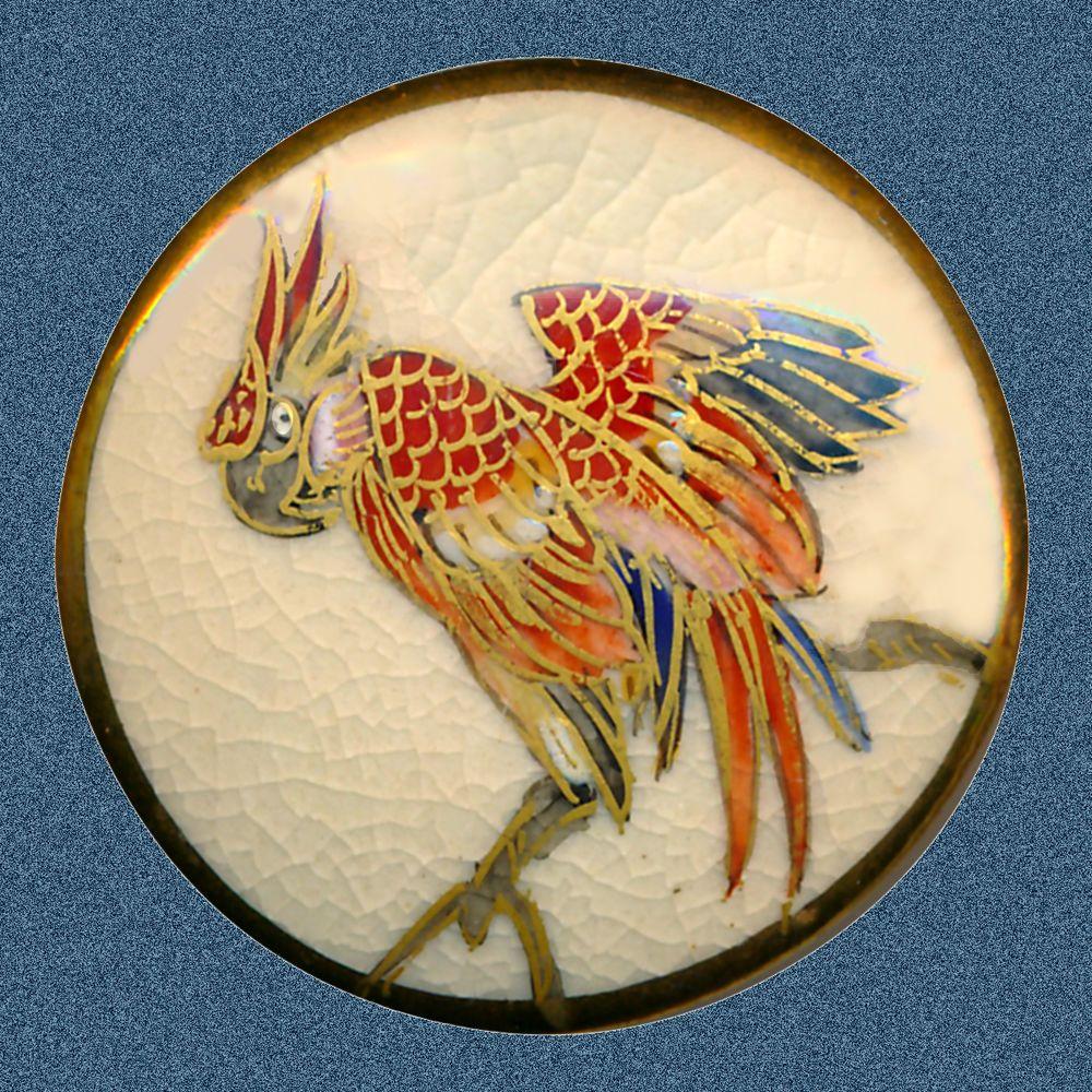 Button--Vintage Modern Satsuma Pottery Parrot on a Branch
