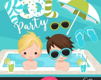 50% OFF SALE Beach Fun Clipart for Boys. Summer Cliparts by MUJKA