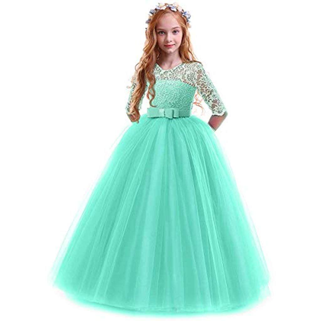Vestiti Eleganti Ragazza 14 Anni.Obeeii Bambina Vestito Principessa In Pizzo Manica Mezza